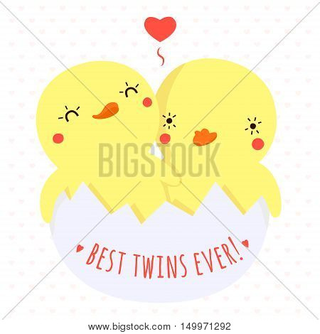 Cute twins baby ducks in egg vector illustration with heart