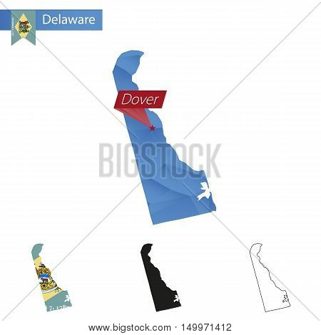State Of Delaware Blue Low Poly Map With Capital Dover.