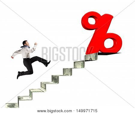 Man Running Toward Percentage Sign On Top Of Money Stairs