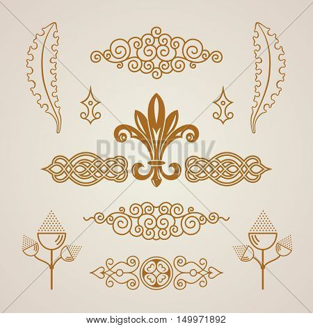 Calligraphic Design vintage elements. Vector illustration logo set. Border frames collection royal ornament page decoration. For birthday card, invitations, Restaurant, Royalty, Cafe, Hotel, Heraldic