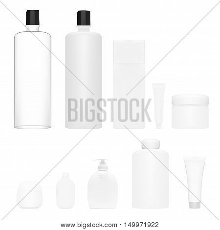 Cosmetics Set Isolated. Plastic Cosmetic Bottle. Cosmetic Beauty Product. Shampoo Bottle Template. Cosmetic Branding Product. EPS10 Vector