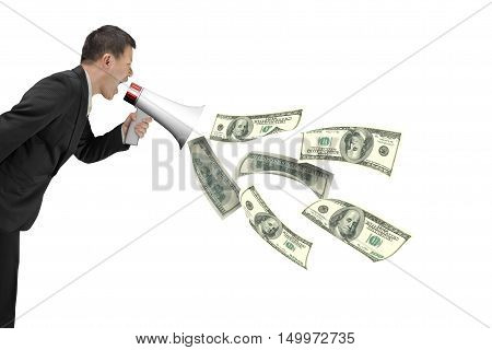 Businessman Hold Megaphone With Dollar Bills Spraying Out