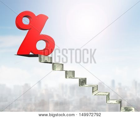 Percentage Sign On Top Of Money Stairs