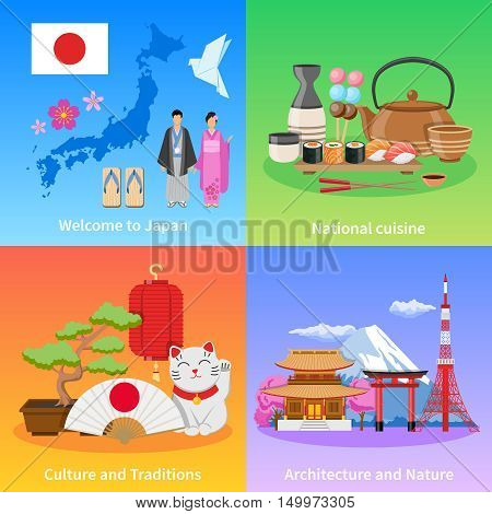 Japanese culture traditions landmarks and national cuisine for travelers 4 flat icons composition poster isolated vector illustration