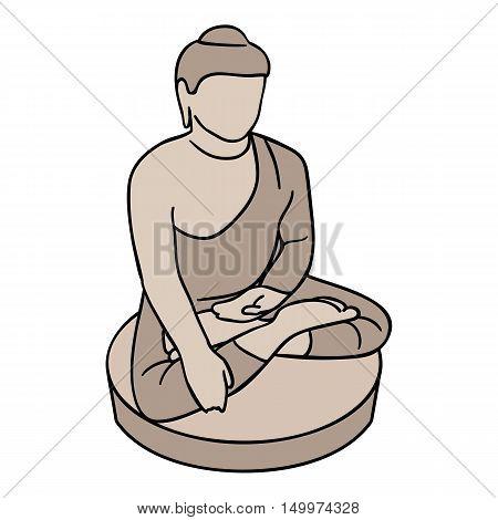 Sitting Buddha icon in cartoon style isolated on white background. South Korea symbol vector illustration.