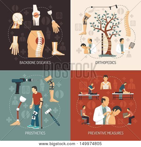 Orthopedics 2x2 design concept with information about backbone diseases  prosthesis set and preventive measures flat vector illustration