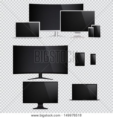 Set of isolated electronic gadgets. Desktop tablet pc mobile phone laptop. Vector illustration.