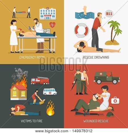 First air assistance for drowning and fire victims rescue on spot 4 flat icons square isolated vector illustration