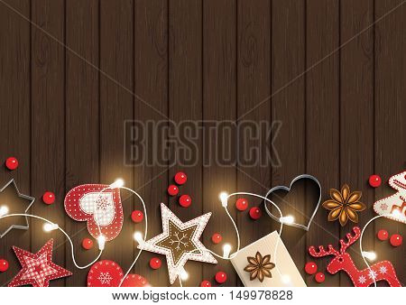 Christmas background, small scandinavian styled red decorations iluminated by electric decorative lights lying on dark brown wooden desk, inspired by flat lay style, vector illustration, eps 10 with transparency