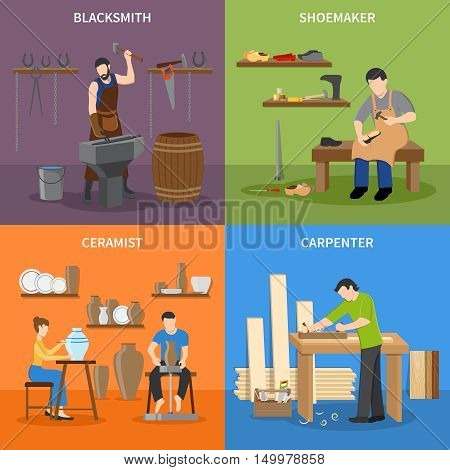 Colorful craftsman flat 2x2 icons set with blacksmith shoemaker ceramist and carpenter at work isolated vector illustration