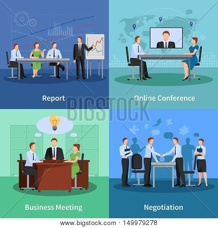 Business Meeting Concept. Conference Vector Illustration. Meeting Flat Icons Set. Conference Design Set. Business Conference Isolated Elements.