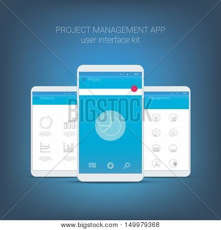 Flat design user interface for smart phone or mobile project management apps. Navigation menu with line icons and buttons. Statistics, graphs, budget, money, organiser, charts. Eps10 vector illustration