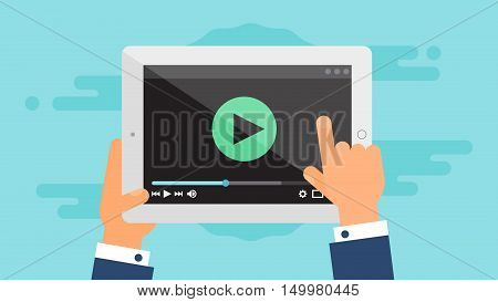 Web Template and Elements for site form of watching online video on tablet. Vector