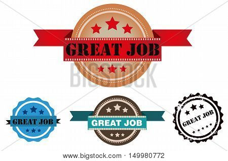 Vector great job stamp isolated on white background