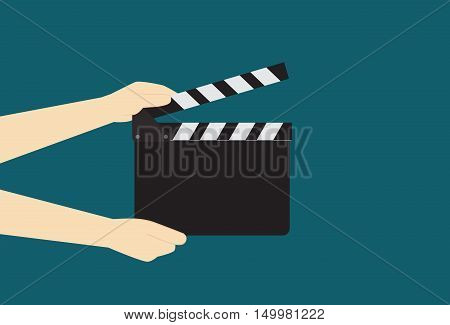 Man Hands Holding Cinema Clapper Board read to take a shot