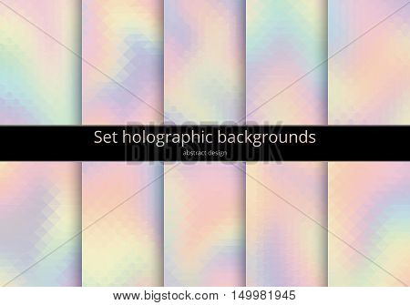 Set holographic backgrounds. Multicoloured backdrop for design. Abstract gradient design in pink blue yellow magenta. Rainbow pastel art. Kit of bright vector illustration.