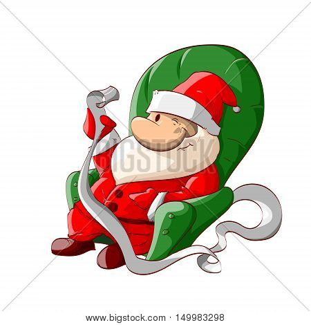Colorful vector illustration of a cartoon Santa reading kids letter wishes sitting in armchair.