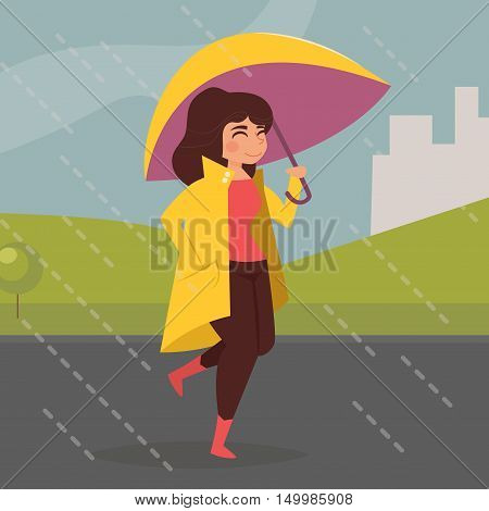 Woman in yellow coat under a purple umbrella. Jump through puddles. Vector illustration. Cartoon character. Isolated. Rain