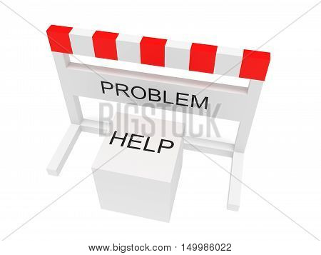 Hurdle Problem And Help Cube 3d illustration on a white background