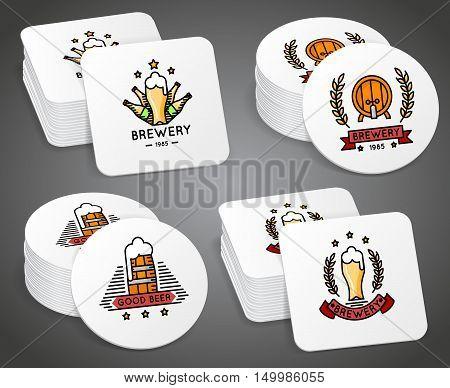 Beverage coaster with beer labels vector set. Beer coaster with logo, illustration coaster for mug beer