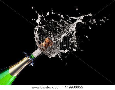 popping champagne on black background