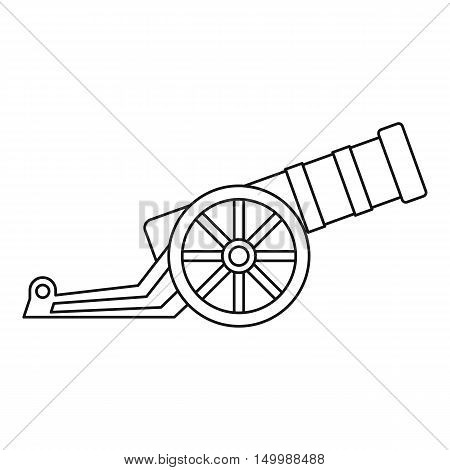 Ancient cannon icon in outline style on a white background vector illustration