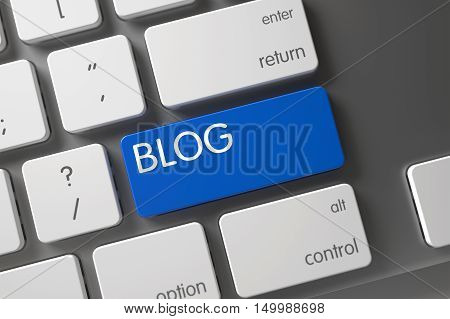 Blog Concept Modern Keyboard with Blog on Blue Enter Key Background, Selected Focus. 3D Illustration.