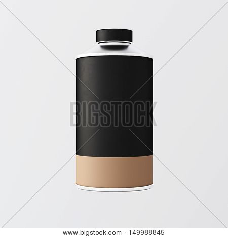 Closeup One Blank Black Brown Color Metal Jar Isolated Empty Background.Clean Cup Container Mockup Ready Use Corporate Design Message.Modern Style Drinks Food Storage.Square. 3d rendering