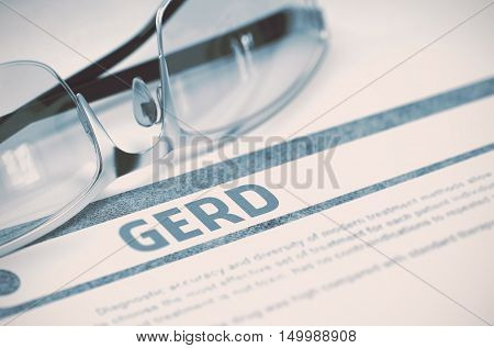 Diagnosis - GERD - Gastroesophageal Reflux Disease. Medical Concept on Blue Background with Blurred Text and Specs. Selective Focus. 3D Rendering.