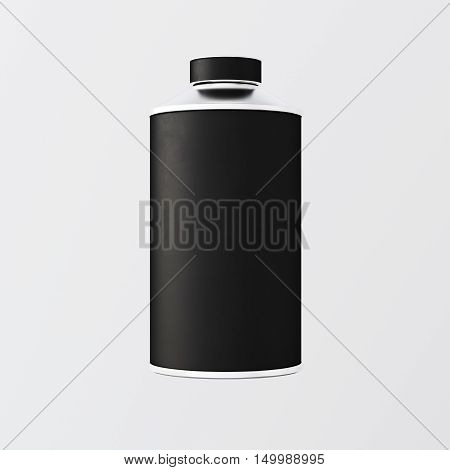 Closeup One Blank Black Matte Color Metal Jar Isolated Empty Background.Clean Cup Container Mockup Ready Use Corporate Design Message.Modern Style Drinks Food Storage.Square. 3d rendering