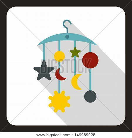 Baby bed carousel icon in flat style on a white background vector illustration