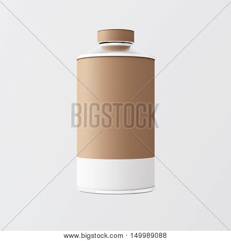Closeup One Blank Brown White Matte Color Metal Jar Isolated Empty Background.Clean Cup Container Mockup Ready Use Corporate Design Message.Modern Style Drinks Food Storage.Square. 3d rendering
