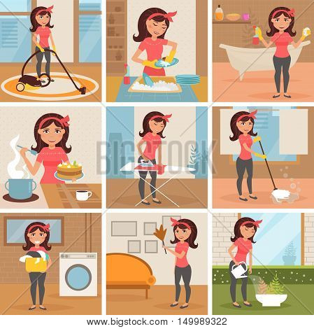 Housewife. Cleaning, cooking, washing, Ironing, watering flowers. Homework Cleaning lady Vector isolated illustration Cartoon characters Set Woman work poster