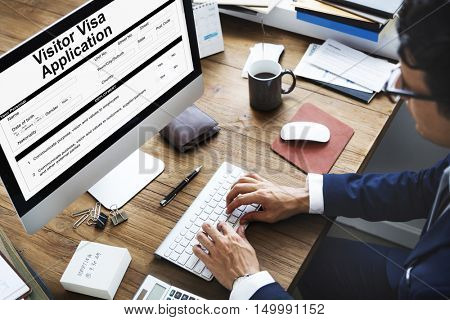 Business Person Visa Application Form Concept