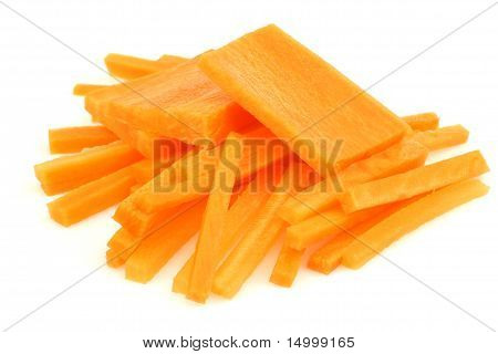 Winter carrot cut in slices and julienne