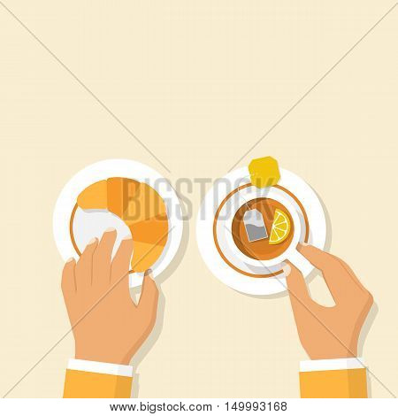 Human at the desk holding a croissant and cup of hot tea with lemon in hand. Vector illustration flat design. Template banner advertising for cafes restaurants. Food and beverages for breakfast.