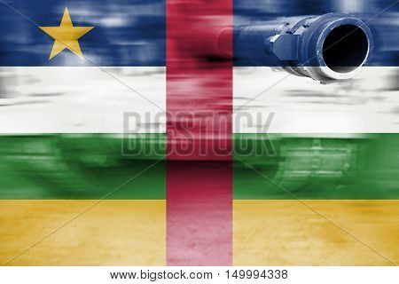 Military Strength Theme, Motion Blur Tank With Central African Rep Flag