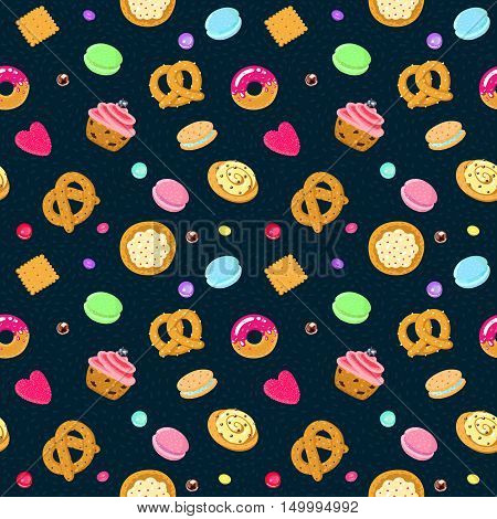 Vector confection and sweets seamless pattern with pastries candies pretzels and muffin (on a dark blue background)