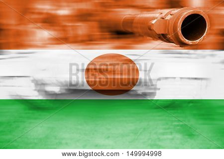 Military Strength Theme, Motion Blur Tank With Niger Flag
