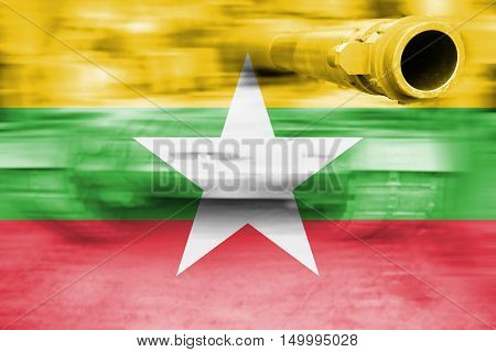 Military Strength Theme, Motion Blur Tank With Myanmar Flag