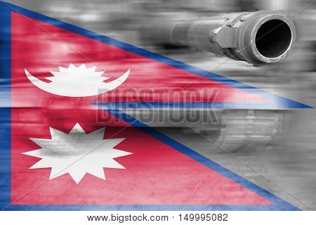 Military Strength Theme, Motion Blur Tank With Nepal Flag