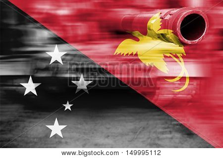 Military Strength Theme, Motion Blur Tank With Papua New Guinea Flag
