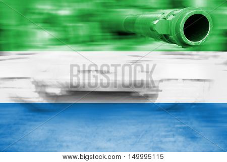 Military Strength Theme, Motion Blur Tank With Sierra Leone Flag