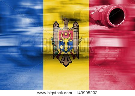 Military Strength Theme, Motion Blur Tank With Republic Of Moldova Flag