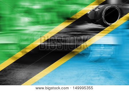 Military Strength Theme, Motion Blur Tank With Tanzania Flag