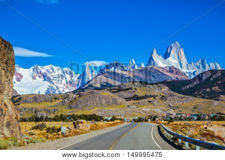Argentine Patagonia. The road to majestic Mount Fitz Roy. The sunny autumn day in February