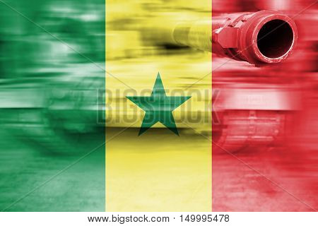 Military Strength Theme, Motion Blur Tank With Senegal Flag
