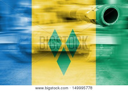 Military Strength Theme, Motion Blur Tank With St Vinc & Grenadines Flag
