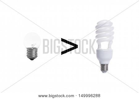 Old tungsten light bulb and fluorescent spiral light bulb isolated on white background