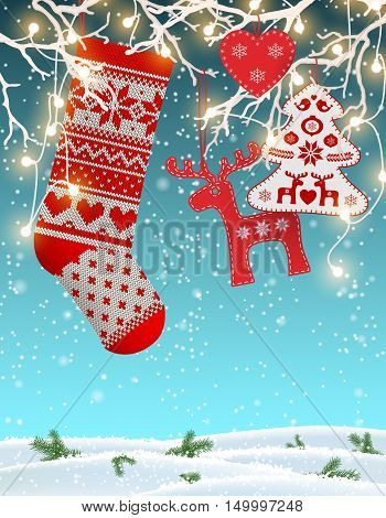 Red knitted christmas stocking with nordic patterns, with some scandinavian traditional decorations hanging on branches with decorative electric lights in front of simple winter landscape, vector illustration, eps 10 with transparency and gradient meshes